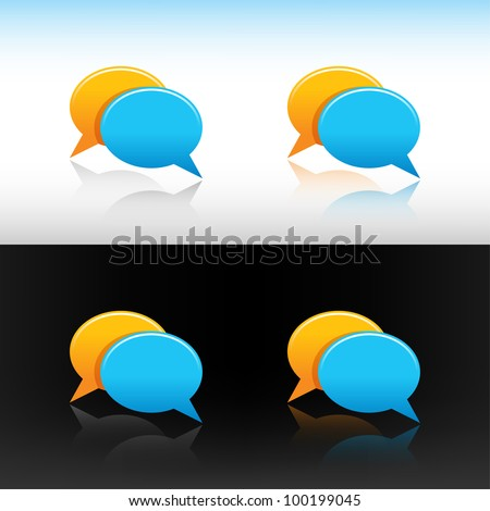 Web button icon yellow and blue speech bubbles. Colored variations reflection on white and black backgrounds. - stock vector