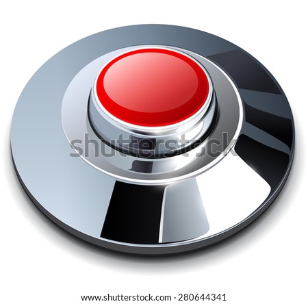 Web button red with metallic, chrome elements - stock vector