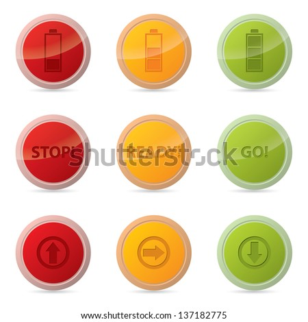 Web button set with various icons and traffic light colors - stock vector
