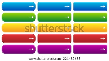Web button templates with arrows and space for text - stock vector