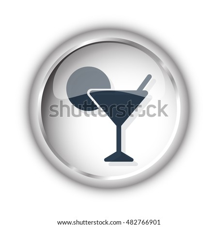 Web button with black Cocktail icon on white background