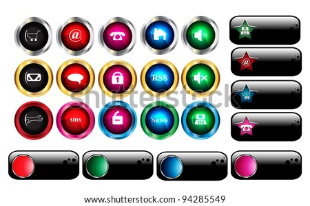 Web buttons and icons - stock vector