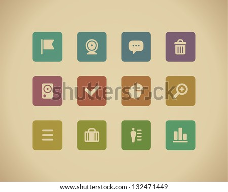 Web buttons and icons for website retro colors. Vector illustration.