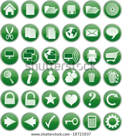 Web buttons and icons, green - stock vector