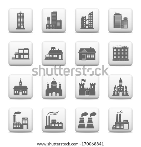 Web buttons, building icons - stock vector