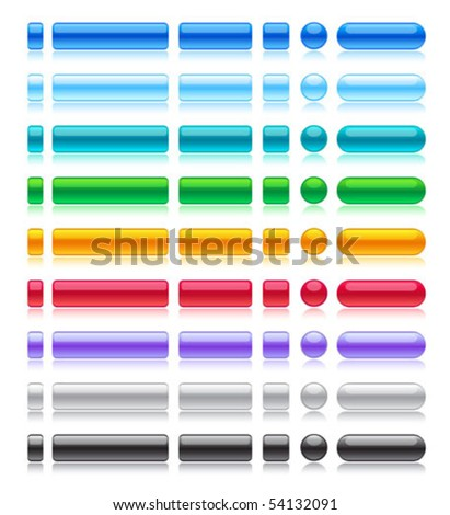 Web buttons collection in web 2.0 style - stock vector