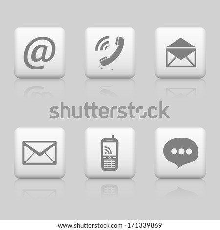 Web buttons, contact icons - stock vector