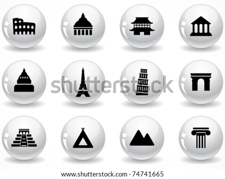 Web buttons, landmark icons - stock vector
