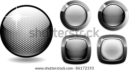 web buttons net style glossy metal easy to edit - stock vector