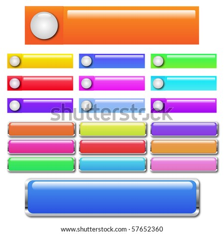 Web buttons of various colors - stock vector