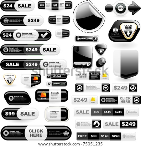 Web buttons. Online marketing - web templates. Sale elements. - stock vector