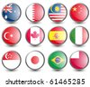 Web buttons with flags of Formula 1 countries isolated on white. Name of the country as the name of the layer. Vector illustration eps 10. - stock vector