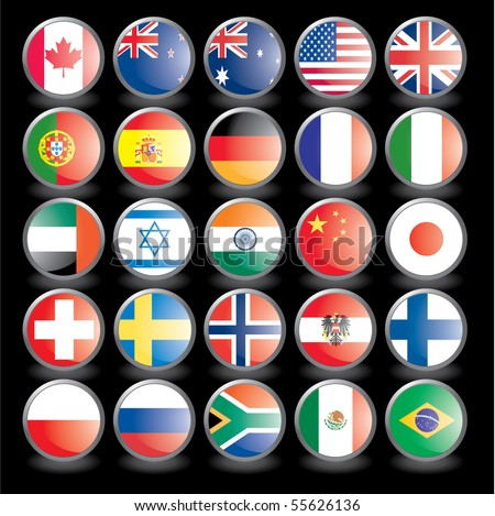 Web buttons with flags on black background. Name of the country as the name of the layer. Easy to change.. Vector illustration eps 10. - stock vector