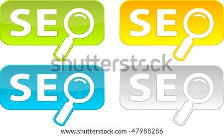 Web buttons with SEO text. Vector illustration. - stock vector