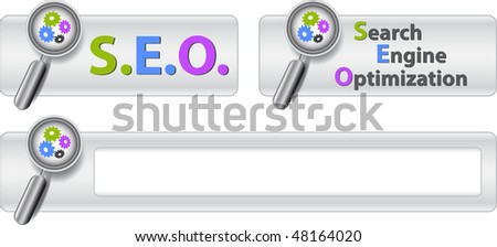 Web buttons with text search engine optimization and magnifier. Vector illustration. EPS10
