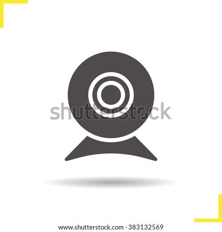 Web cam icon. Drop shadow web camera icon. Modern portable webcam computer device. Online video chat icon. Isolated webcam black illustration. Webcam logo concept. Vector silhouette web camera symbol - stock vector