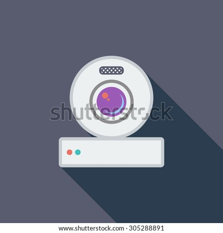 Web cam icon. Flat vector related icon with long shadow for web and mobile applications. It can be used as - logo, pictogram, icon, infographic element. Vector Illustration. - stock vector