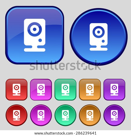 Web cam icon sign. A set of twelve vintage buttons for your design. Vector illustration - stock vector