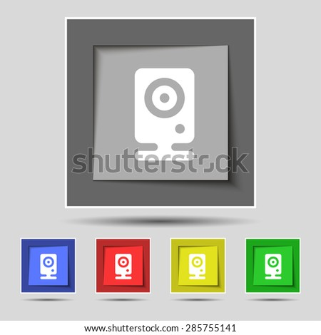Web cam icon sign on original five colored buttons. Vector illustration - stock vector