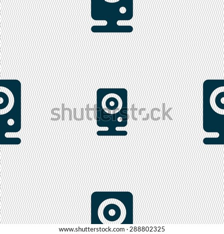 Web cam icon sign. Seamless pattern with geometric texture. Vector illustration - stock vector