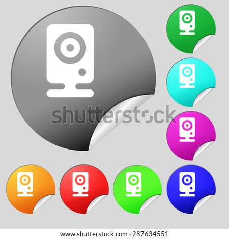 Web cam icon sign. Set of eight multi colored round buttons, stickers. Vector illustration - stock vector