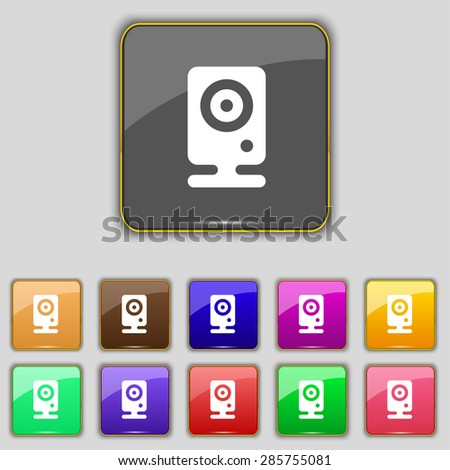 Web cam icon sign. Set with eleven colored buttons for your site. Vector illustration - stock vector