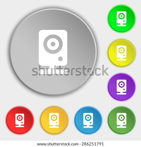 Web cam icon sign. Symbol on five flat buttons. Vector illustration - stock vector