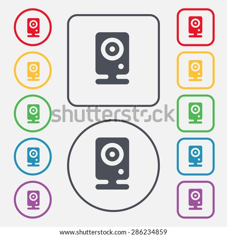 Web cam icon sign. symbol on the Round and square buttons with frame. Vector illustration - stock vector