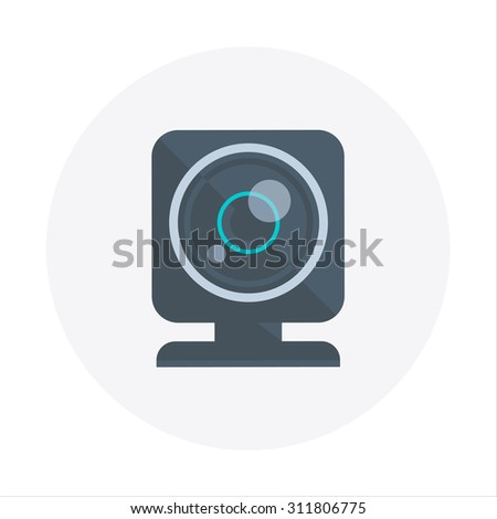 Web Cam theme, flat style, colorful, vector icon for info graphics, websites, mobile and print media. - stock vector