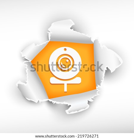 Web camera and breakthrough paper hole with ragged edges  - stock vector