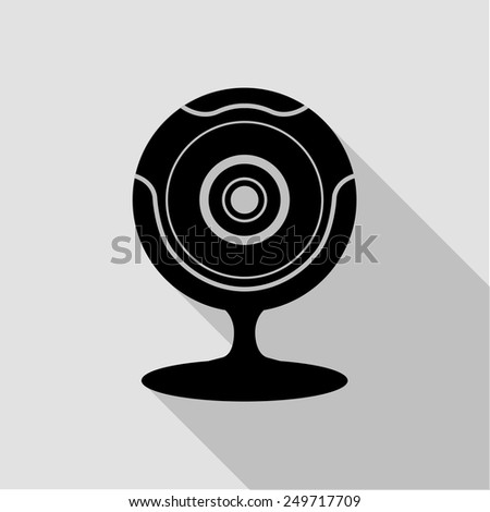 web camera icon - black illustration with long shadow - stock vector