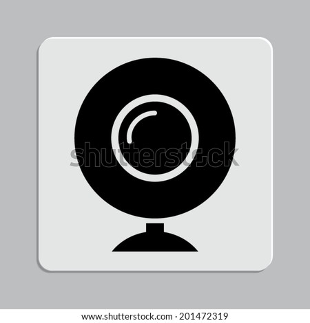 web camera icon on a grey flat button - stock vector
