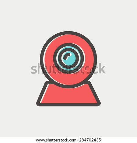 Web camera icon thin line for web and mobile, modern minimalistic flat design. Vector icon with dark grey outline and offset colour on light grey background. - stock vector