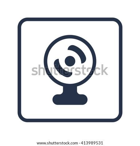 web camera icon, web camera symbol, web camera vector, web camera eps, web camera image, web camera logo, web camera flat, web camera art design, web camera blue round  - stock vector