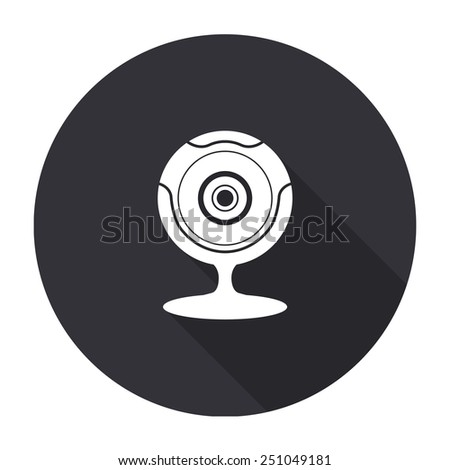 web camera icon with long shadow - vector round button - stock vector