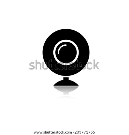 web camera icon with shadow - stock vector