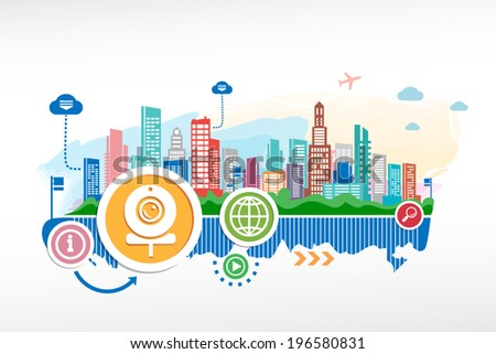 Web Camera sign and cityscape background with different icon and elements. Design for the print, advertising.  - stock vector