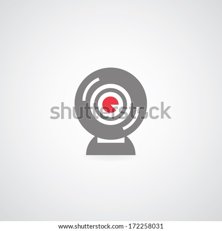 web camera symbol on gray background  - stock vector