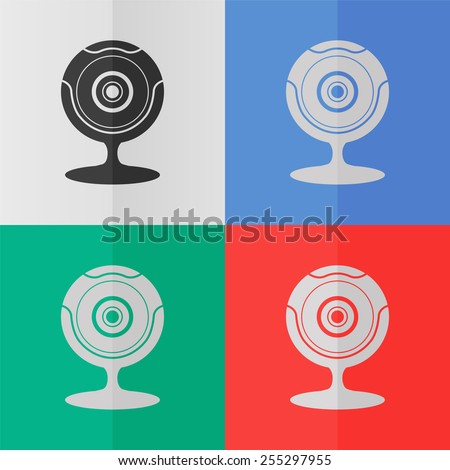 Web camera vector icon. Effect of folded paper. Colored (red, blue, green) illustrations. Flat design - stock vector