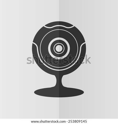 Web camera vector icon. Effect of folded paper. Flat design - stock vector