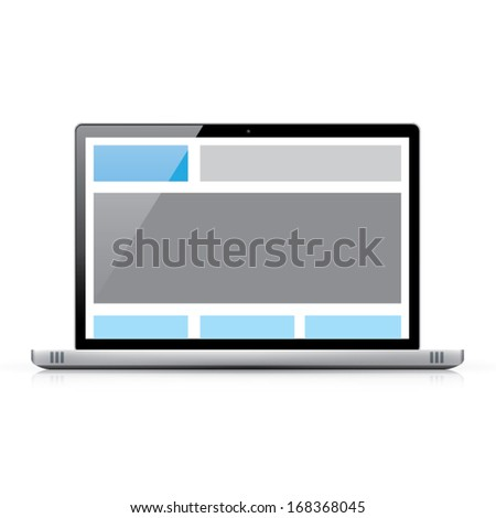 Web coding concept - responsive html and css web design in laptop computer - stock vector