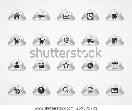 Web & commercial icons on metallic cloud buttons