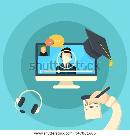 Web conferences meetings and seminars flat illustration of online webinars trainings participants abstract isolated vector illustration - stock vector