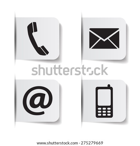 Web contact us black icons with telephone, email, mobile phone and at symbol on paper labels with shadow effects EPS 10 vector illustration isolated on white background. - stock vector