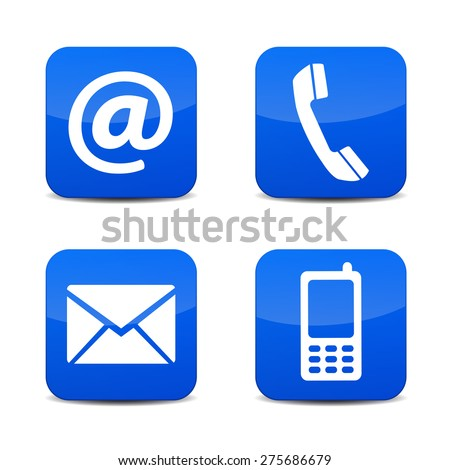 Web contact us icons with telephone, email, mobile phone and at symbol on blue glossy tab badge buttons with shadow EPS 10 vector illustration isolated on white background.