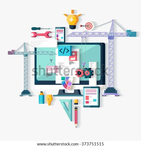 Web design and Programming. Flat design.   - stock vector