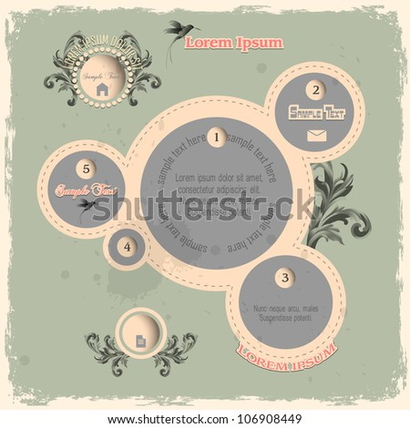Web design bubbles in vintage style. Vector template - stock vector