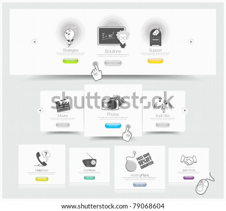 Web design carousel elements whith icons set - stock vector