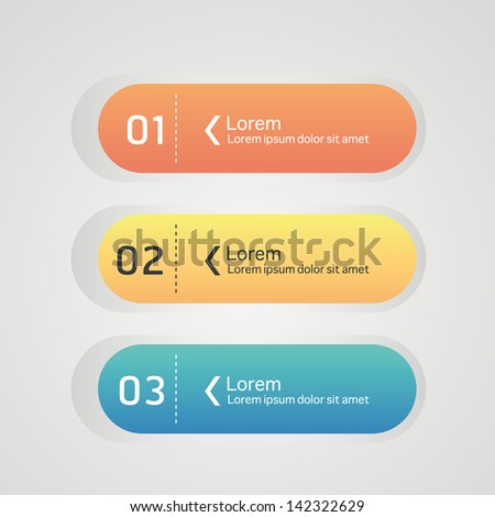 Web design colorful element buttons, navigation menu bars - stock vector