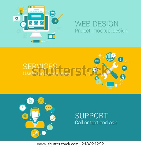 Web design concept flat icons set of project mockup interface usability services support and vector web illustration website click infographics elements collection - stock vector